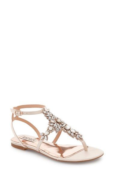 b74b9c0bff31e amazon guarantee Badgley Mischka  Cara  Crystal Embellished Flat Sandal  (Women) available at  Nordstrom Lowest price.