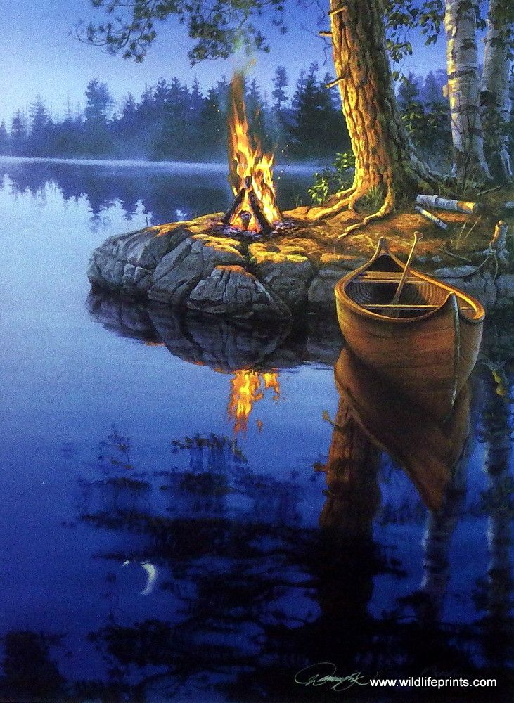 The canoe ride is over and a crackling bonfire is roaring in this peaceful lake scene. TIME TO REFLECT by Darrell Bush makes us all wish for those relaxing summer evenings. This signed edition print c