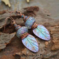 Winter Solstice, Painted Copper Leaf and Lampwork Glass Earrings on Earrings Everyday #earringseveryday #kristibowmandesign