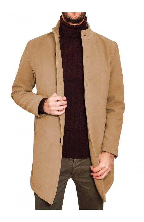 432522f9b707 3GUYS Παλτό με μάο γιακά σε άνετη γραμμή, φόδρα διαφορετικού χρώματος  εσωτερικά και κουμπιά.Το μοντέλο της φωτογραφίας έχει … | 3GUYS | ΑΝΔΡΙΚΑ  ΜΠΟΥΦΑΝ ...