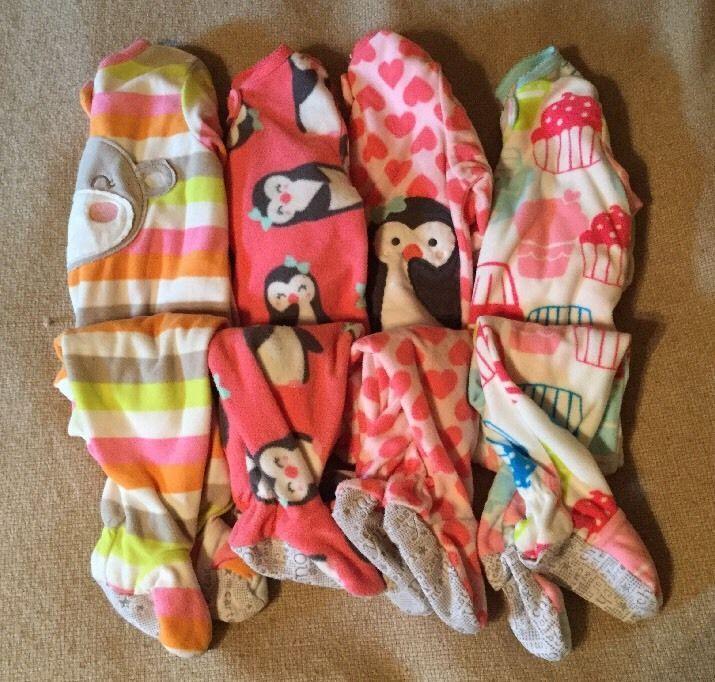 Baby Girl 4 Piece Lot Sleepers Footie Pajamas Fleece Carter's Child of Mine 12M | eBay