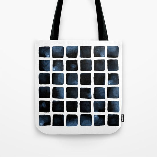 Stormy Seas Tote Bag Watercolor squares. Geometric pattern. Abstract art #abstract #pattern #watercolor #design #art #decor #home #sea #oceandecor #nautical #bag #fashion