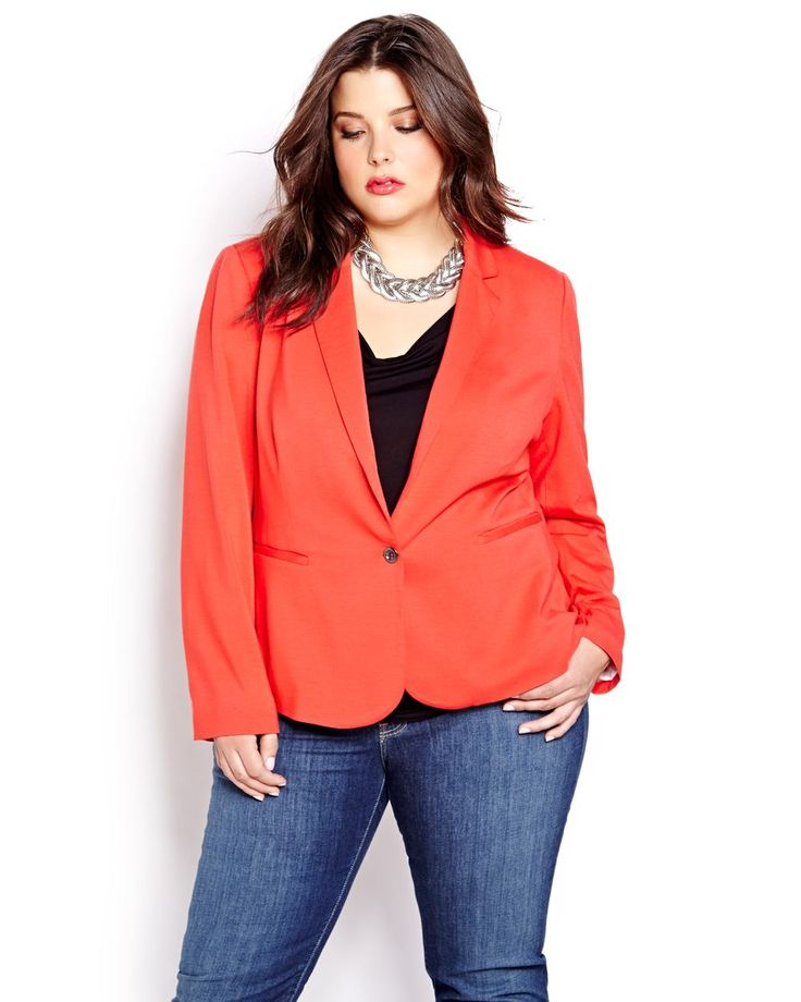 Beautifully tailored blazer with one button closure and chic striped lining takes you from morning commute to dinner date in total style. Plus size, long sleeve, slit front pockets and back darts for a polished, flattering contour. 26 inch back length, 27 inch front length. Equally chic with an office pant or sexy jean!