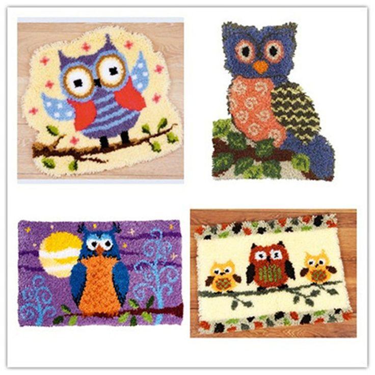 Latch Hook Kit Rug Cushion Pillow Mat DIY Craft Owl  Cross Stitch Needlework Crocheting Rug Embroidery