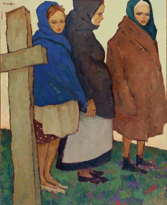 Nicolae Tonitza Women to Women at the Cemetery Graveyard 1920 ...