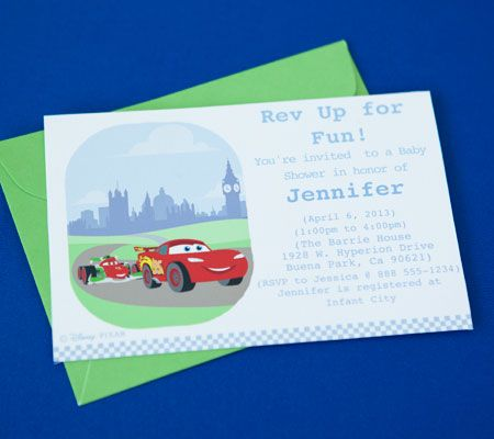 Cars Junior Junction Printable Invitations. Get a head start on party planning with customizable Cars baby shower invitations.