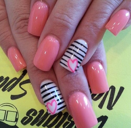 90 best nail designs images on pinterest black nail arts and valentines day nail art ideas image via cute pink love simple heart nail design prinsesfo Gallery