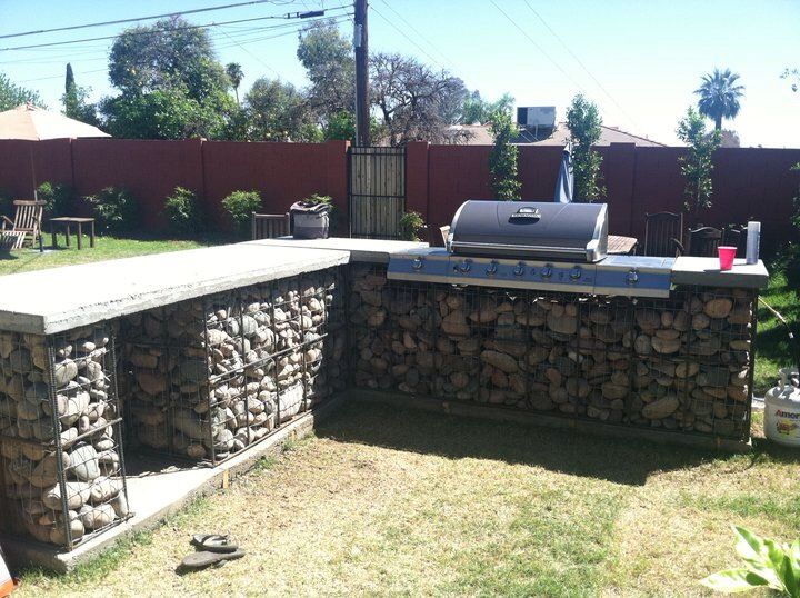 95 best images about gabion on pinterest gardens for Outdoor kitchen wall ideas