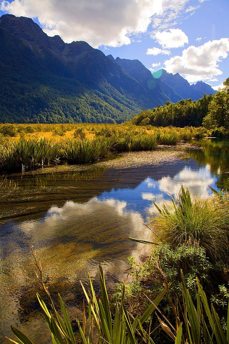 Mirror Lakes, on the Milford Rd, see more, learn more, at New Zealand Journeys app for iPad www.gopix.co.nz