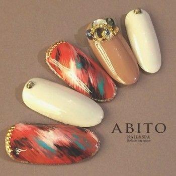 ヴァーミリオンシック nd68837 | ABITO -nail-(アビトー)のネイルデザイン・ネイルアート・ネイルカタログを探すなら楽天ビューティ。朱色マーブルをポイントにgoldスタッツでcoolに・・・