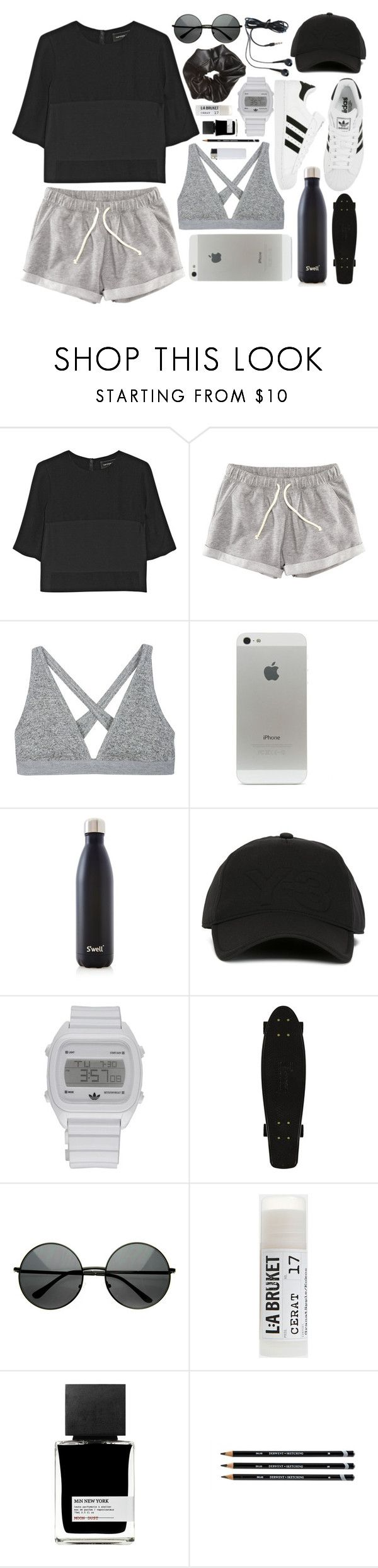 """Sporty fashion"" by rheeee ❤ liked on Polyvore featuring Narciso Rodriguez, H&M, T By Alexander Wang, adidas, S'well, Y-3, Toast and MiN New York"