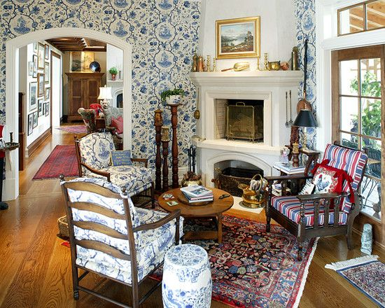 English Cottage Style Living Design Ideas, Pictures, Remodel And Decor    Use Of Lots Of Small Persian Rugs Part 81