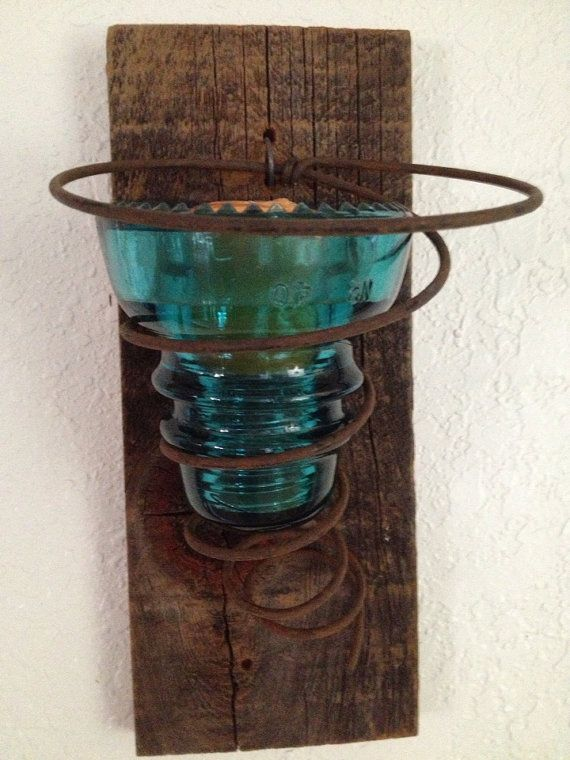 Vintage Blue Insulator Candle Sconce by UrbanMiningCompany on Etsy, $17.95