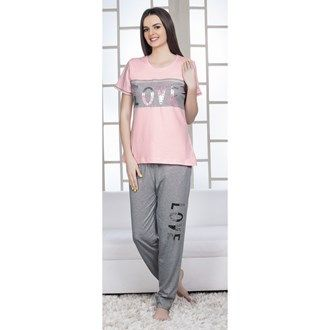 Pyjama Sets, Night Wear, Women, Fashion, Lulu, Pink Avenue, Pink Avenue Women's Pyjama Set 11720 , Women , Pink Avenue , 11720 ,  ,  ,  ,  ,  ,  , Top : 100% Cotton. Bottom : 92% Cotton & 8% Polyester , Summer ,  , 1 Pyjama Set , Machine wash warm with similar colors,Do not bleach, Do not dry clean, Do not tumble dry, Iron low required. There might be slight color variation due to lightings and flash while photo shoot.