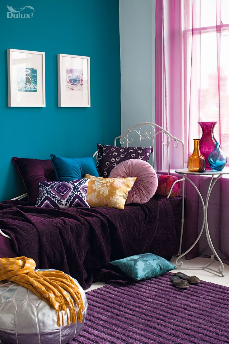 Bring The Outdoors In With Natures Favourite Colours Blue And Green This Inspiring Combination Purple BedroomPurple