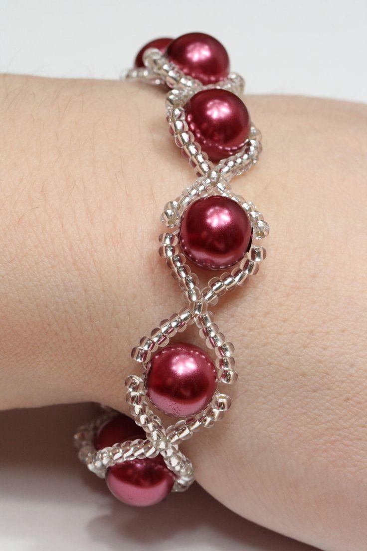 red glass pearl bracelet