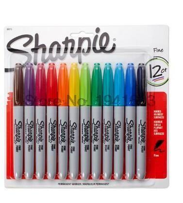 12 Pçs/lote 12 Cores Americano sanford sharpie marcadores permanentes, eco caneta marcador, Marcador Permanente Sharpie Fine Point