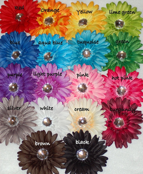 Ultimate Rainbow Collection of Gerbera Daisy by budzandblossoms, $54.99: Gerbera Daisies, Color Schemes, Wedding Ideas, Gerbera Daisy, Hair Bows, Ultimate Rainbow
