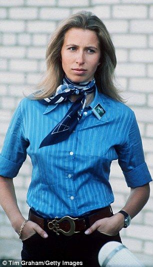 Glamorous: Princess Anne in Kiev in 1973 wearing beautiful blue hermes scarf in a an equestrian outfit