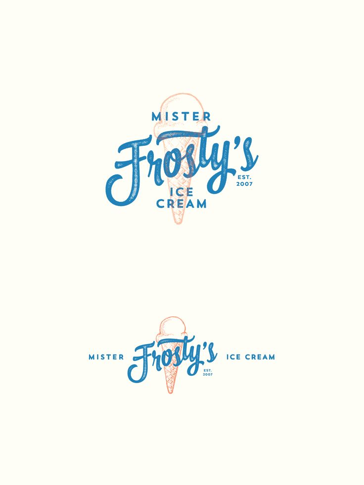 Blue and red double exposure mimics retro 3D along with vintage typography in greeninblue's ice cream logo. #restaurant #design #seal