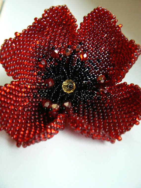 Beaded Poppy Brooch. Red Seed Beads Poppy Flower by astrabeads