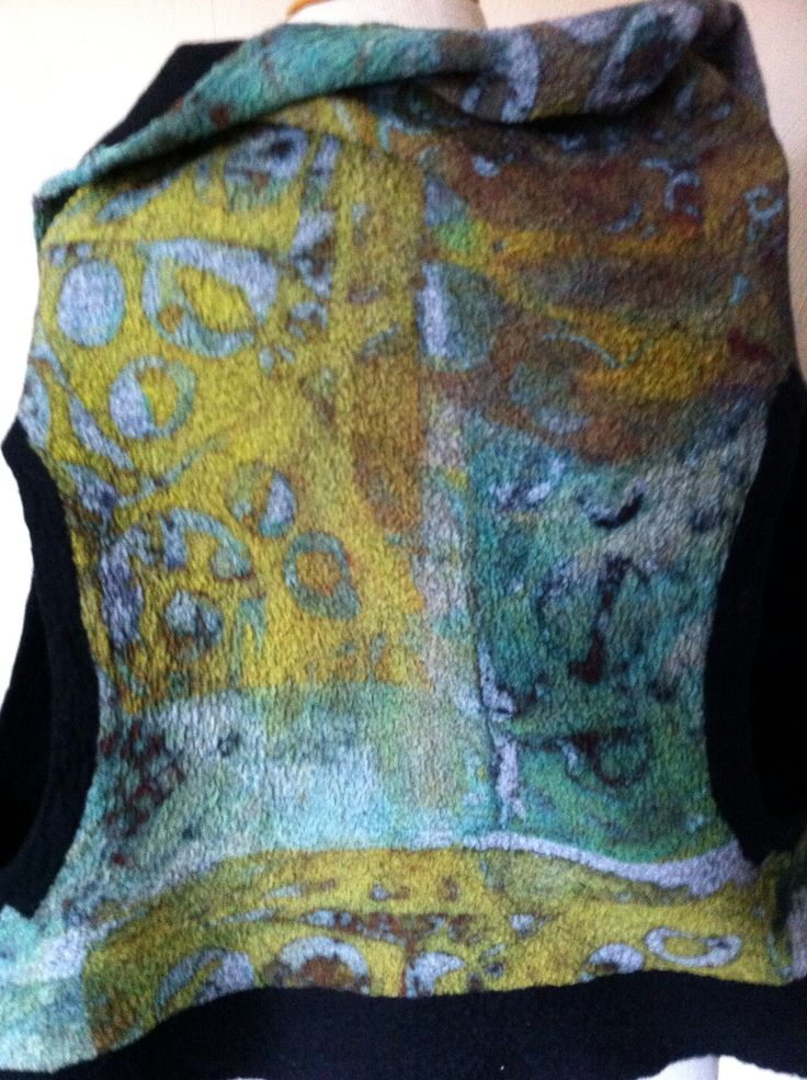 Detail of screen printed chiffon on felted vest