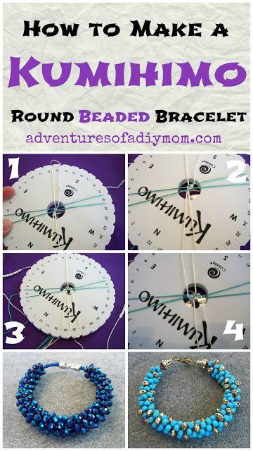 Adventures of a DIY Mom - Kumihimo Beaded Bracelets Tutorial