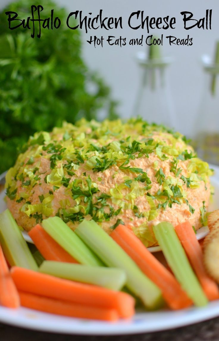 A tasty appetizer for New Year's or game day that's full of cheesy, garlic goodness! Turn the leftovers into a hot dip for an at home movie or date night! Buffalo Chicken Cheese Ball Recipe from Hot Eats and Cool Reads