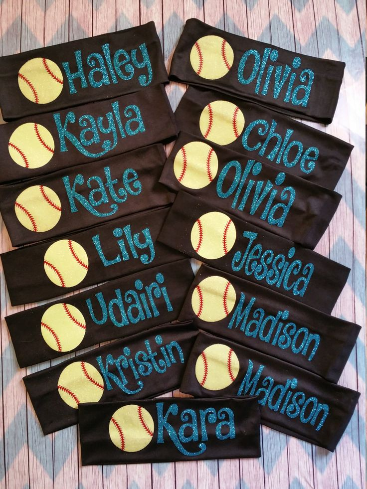 Headbands with Name and Softballs - pinned by pin4etsy.com