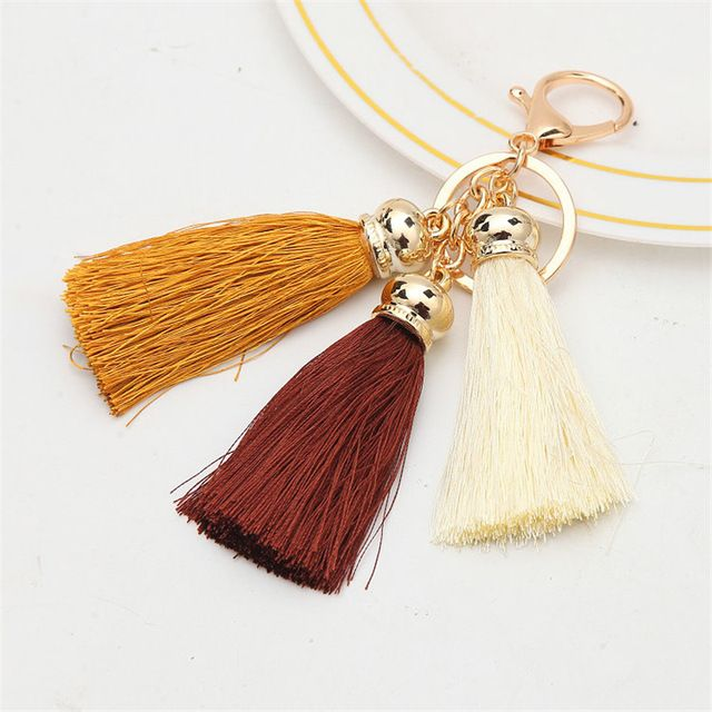 Hot selling Colorful Key Chains Bag Accessories Ice Silk 3 color Tassel Pompom Car Keychain Handbag Key Ring Jewelry For Women-in Key Chains from Jewelry & Accessories on Aliexpress.com | Alibaba Group