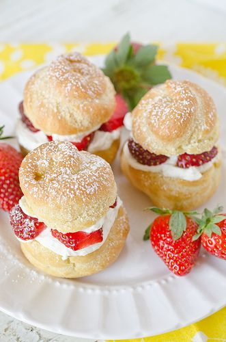 Cream puffs filled with strawberries and mascarpone cheese. Delicious!