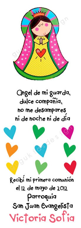 Virgencita Plis PRINTABLE - first  communion or baptism favor bookmark QUE BONITO!