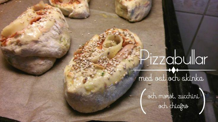 Pizzabullar med ost och skinka (och morot, zucchini och chiafrön)