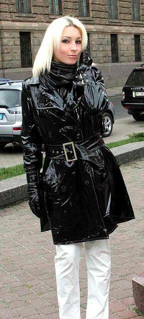 Black PVC Raincoat and white pants