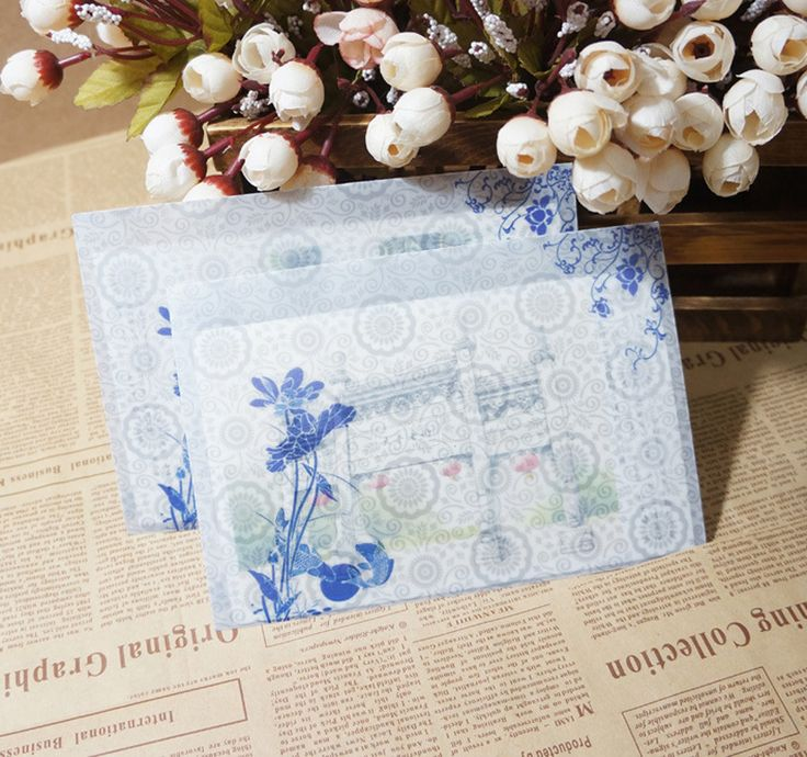 10pcs/lot Translucent Hazy Chinese Wind Sulfuric Acid Paper Envelopes Blue And White Charge Case Paper Envelopes