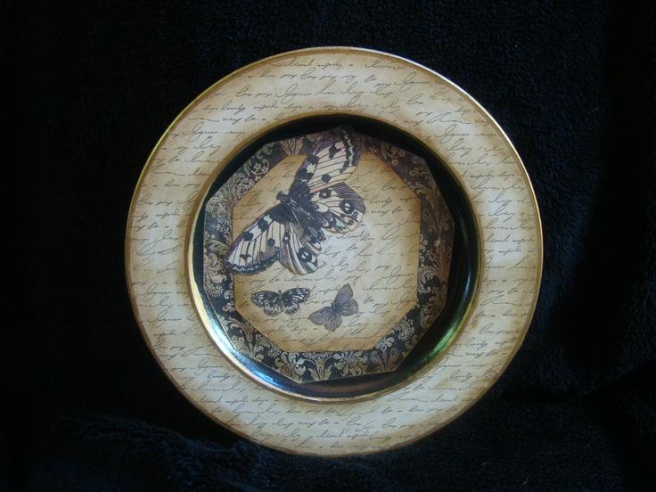 Decoupaged Wooden Plate by Isobel Matson