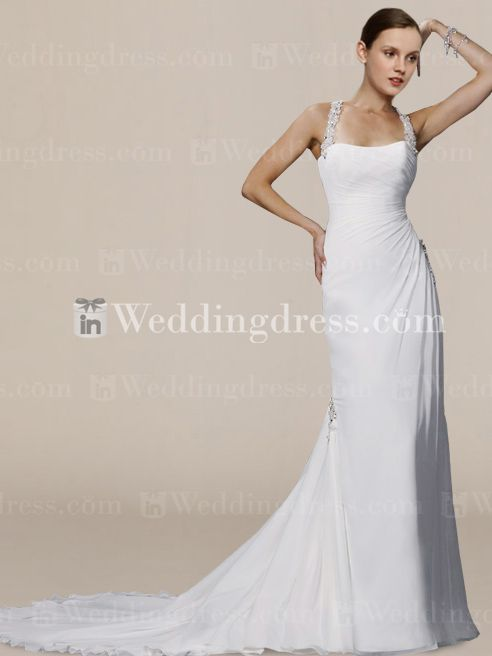 Simple Slim Chiffon Halter Wedding Gown with Crystals BC022 New