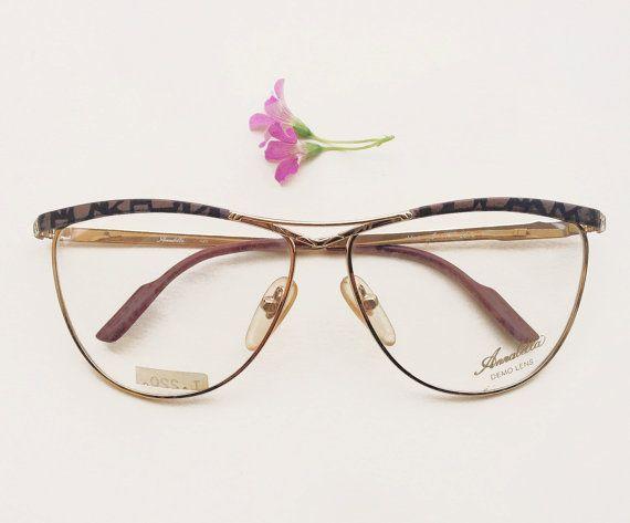 Annabella original Frames / 80s NOS golden and brown metal eyeglasses / Vintage cat eye italian glasses / womens optical rare eyewear