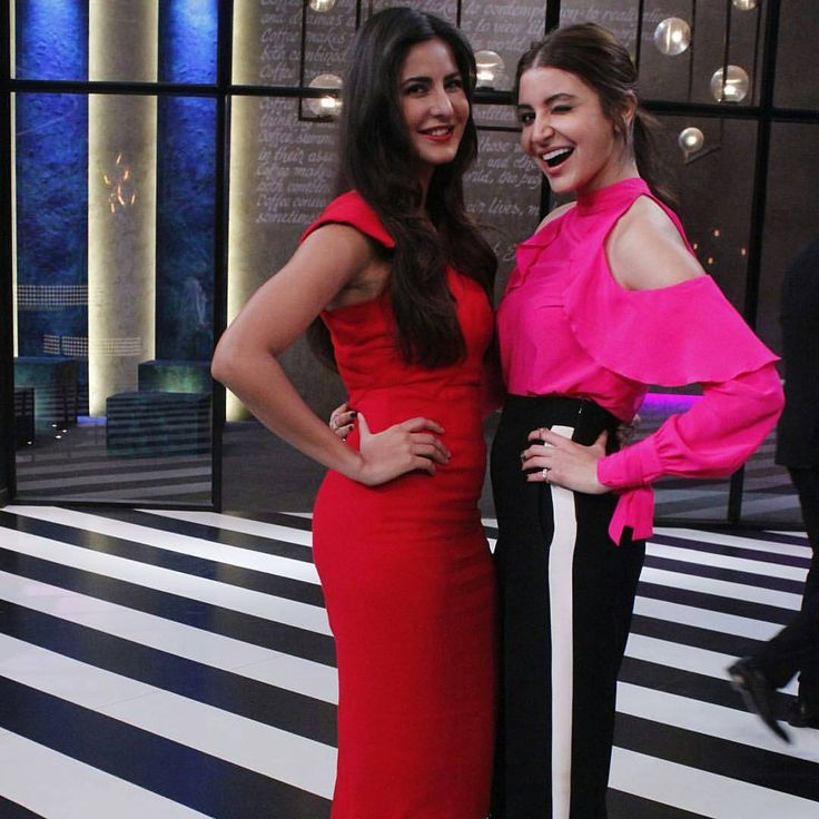 Tonight the #KWK couch is going to blush pink with these red hot beautiful girls! Are you excited? #KoffeeWithKaran @anushkasharma #KatrinaKaif