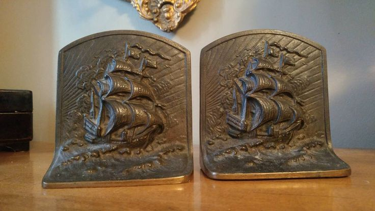Pair of Vintage Heavy Bronze Nautical Sailing Ship Bookends
