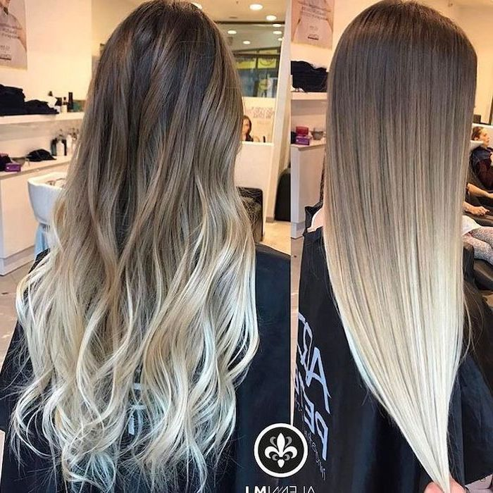 Long Curly Hair Dark To Light Blonde Ombre Side By Side Phots Hair Salon In 2020 Ombre Hair What Is Ombre Hair Platinum Blonde Hair