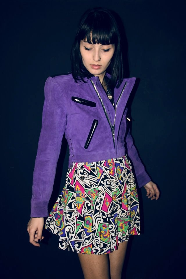 Items similar to Purple Sueded Jacket with Black Velvet details on Etsy