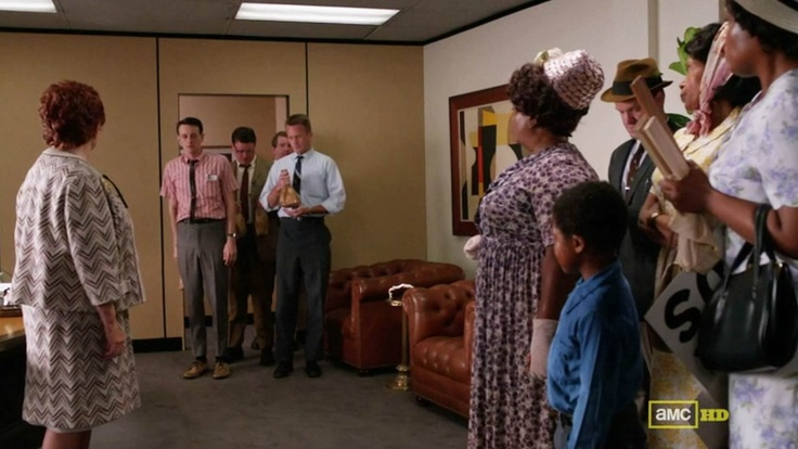 One of our Mary Calkins paintings in the lobby of Cooper, Sterling, Draper, Pryce on AMC's Mad Men: Calkins Paintings