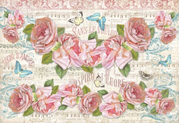 Stamperia Ριζόχαρτο Decoupage 48X33 cm Τριαντάφυλλα