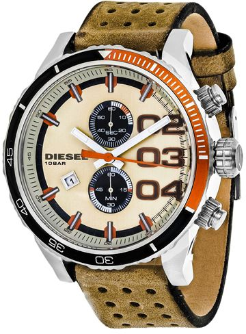Diesel Double Down DZ4310 Men's Brown Leather Chronograph Watch