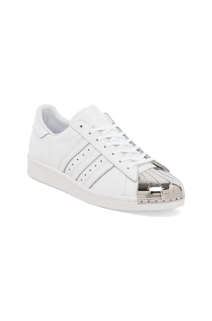 adidas Originals BLUE Superstar 80\u0027s Metal Toe Sneaker in White \u0026 Silver