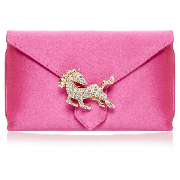 Wilbur & Gussie Charlie Candy Pink Horse Silk Clutch Bag featuring polyvore, women's fashion, bags, handbags, clutches, borse, pink, horse purse, silk handbags, pink handbags, horse handbags and silk purse