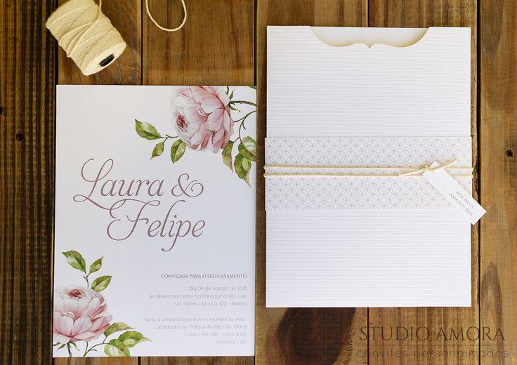 Convite de casamento floral moderno   Estúdio Amora   Elo7