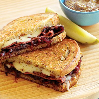 Grilled Pastrami, Swiss, and Sweet Onion Marmalade on Rye  -  Make the marmalade ahead so you can whip these babies out in just a few minutes. Leftover marmalade is terrific on pork chops and roast beef.