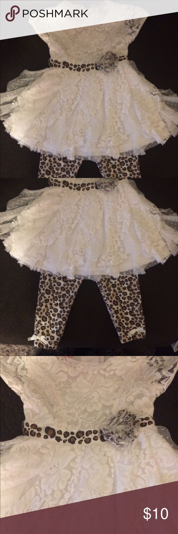 Lace & Cheetah Outfit 12 month Never worn only been washed in baby detergent! Smoke free home! Matching Sets